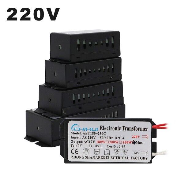 220V Electronic Transformer 60W 80W 105W 120W 160W 180W 200W 250W For AC 12V Halogen lamp Crystal Lamp G4 Light Beads