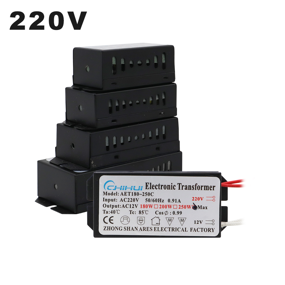 220V <font><b>Electronic</b></font> <font><b>Transformer</b></font> 60W 80W 105W <font><b>120W</b></font> 160W 180W 200W 250W For AC <font><b>12V</b></font> Halogen lamp Crystal Lamp G4 Light Beads image
