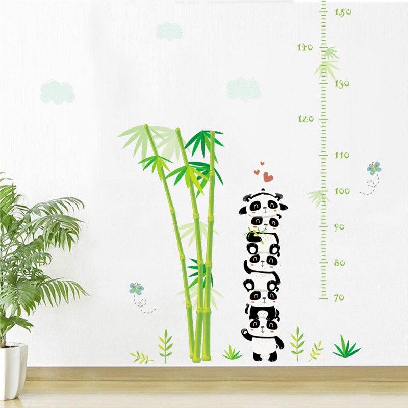 Панда бамбуковые облака растения высота измерительные настенные наклейки для детской комнаты животные Таблица роста настенные наклейки п...