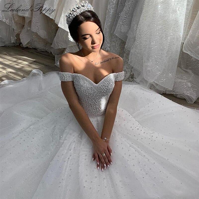 Lceland Poppy Pearls Beaded Ball Gown Wedding Dresses 2020 Plus Size Off The Shoulder Floor Length Vestido De Novia Bridal Gowns