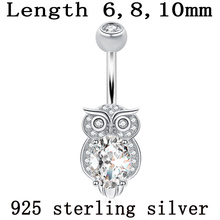 Belly button ring real 925 sterling silver navel ring owl nighthawk bird of Minerva body jewelry free shipping piercing jewelry