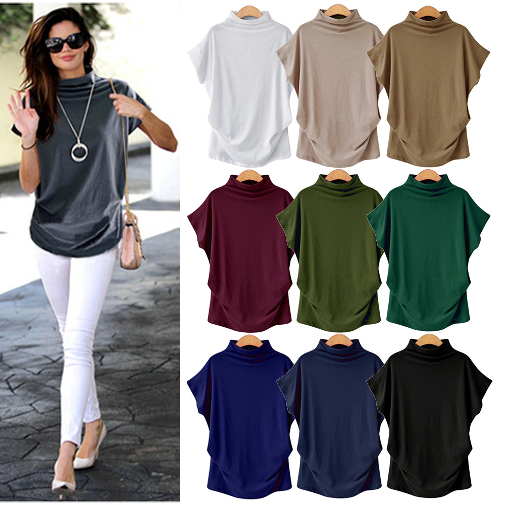 Dropshipping Women Summer Short Batwing Sleeve Tops Tshirt Ladies Solid Black Turtleneck Cotton Plus Size  Streetwear T Shirt
