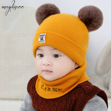 Maylisacc 3-24 Months Baby Autumn Winter Warm Cute Double Ball Baby Hat Scarf Two-piece Baby Wool Knitted Padded Warm Hat Set 2pcs set baby toddler winter set cartoon wool knitting hat scarf warm set infant toddler girls boy knitted keep warm clothes set