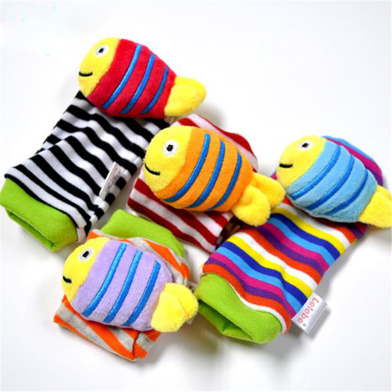 New Style Baby Rattle Wrist Sock Toys Infant Kids Cute Cartoon Animal Early Education Soft Hand Bell Rattle Stuffed Plush Toys