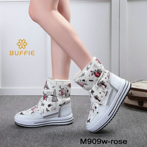 Image 2 - 부츠 여성 신발 겨울 여성 따뜻한 모피 방수 어퍼 플러스 크기 패션 비 슬립 단독 무료 배송 새로운 스타일 스노우 부팅