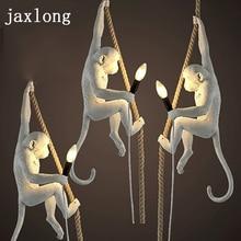 Lámpara colgante moderna de 7 colores con forma de mono, luces LED de cuerda, lámpara colgante de dormitorio, lustre de resina, decoración artística, luminaria