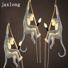 Lampe en résine à la forme dun singe suspendu à une corde, design moderne, disponible dans pendentif LED couleurs, réplique, Luminaire ART déco, idéal pour une chambre à coucher