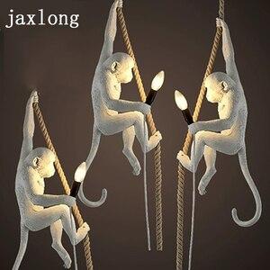 Image 1 - Moderno 7 cor macaco lâmpada corda led pingente luzes do quarto lâmpada réplicas resina lustre arte deco pendurado luminária