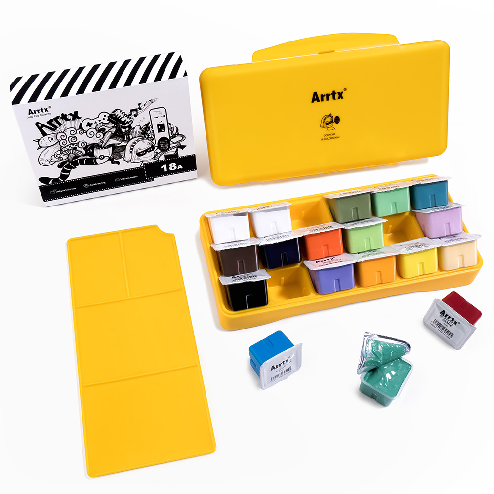 Arrtx 18 Colors Gouache Paint Set 30ml Cute Jelly Cup Design With Portable Box And Palette Suitable For Hobbyist Artists Paint