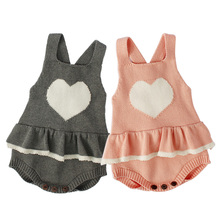 Fashion Heart Baby Romper For Girl Clothes Cotton Knitted Infant Party Birthday Toddle