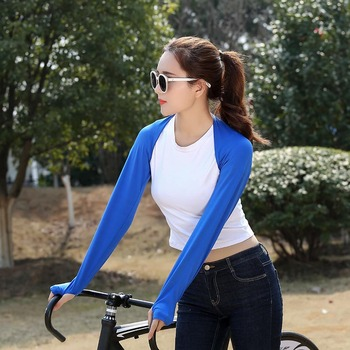 Cooling Shawl Arm Sleeves UV Protection Sun Protector With Finger Hole For Women Golfing Riding Outdoor Activities In Stock