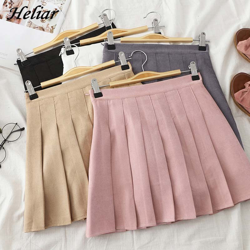 Heliar Women Plaid Pleated Skirt Summer S-2XL High Waist Harajuku JK Skirt Preppy A-line Casual Sweet Cute Mini Skirts For Women