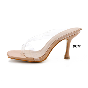 Image 3 - Kcenid Neue PVC transparent hausschuhe frauen high heels sommer hausschuhe flip flops für frauen sexy karree klar sandalen schuhe