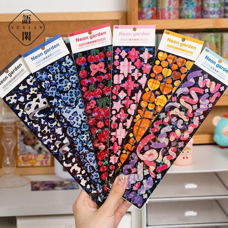 2 Pcs Korean Butterfly Ribbon Love Laser Stickers Cute Junk Journal Stationery Hand Account Happy Plan Deco Sticker Art Supplies