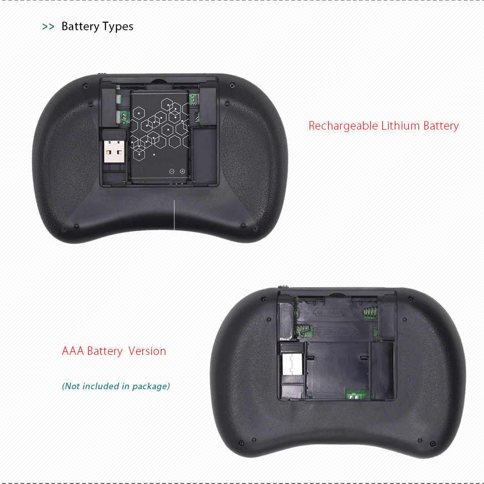 7 لون الخلفية i8 لوحة مفاتيح لاسلكية صغيرة التايلاندية نسخة لوحة المفاتيح ماوس هوائي مع لوحة اللمس ل تي في بوكس أندرويد كمبيوتر صغير IPTV X96 H96