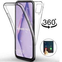 360 ° capa protetora transparente, para huawei p40 lite p30 pro p20 p10 luz em p 40 30 20 10 coque de silicone lite para celulares