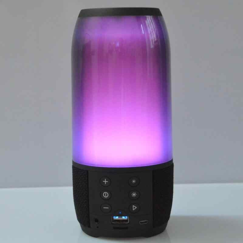 Colorful Lampu Bluetooth Speaker Outdoor Nirkabel Portabel Mini Musik Speaker Kartu Kecil Subwoofer Kolom Altavoz F4075A