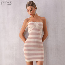 Adyce 2019 New Summer Women Striped Runway Bandage Dress Sexy Sleeveless Strapless Bodycon Club Celebrity Evening Party Dresses(China)