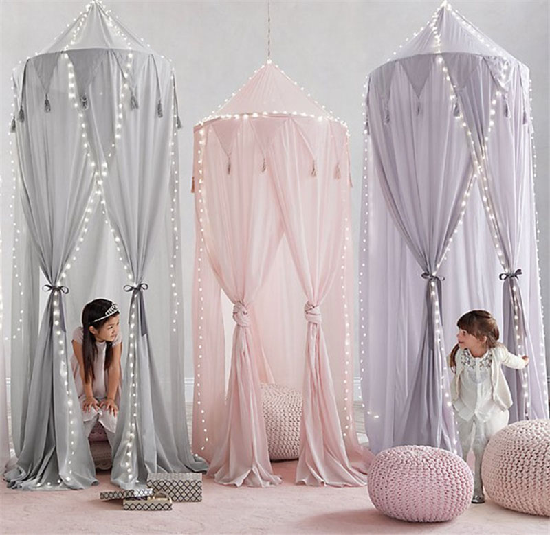 Children Kid Baby Bed Canopy Bedcover Mosquito Net Curtain Bedding Round Dome Tent Chiffon Pink/White/Grey