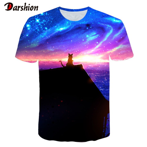 Fashion 3D Printed T-shirt Summer Tops Men Cool Pink Cloud Blue Sky T-shirts Graphic Shirts Beautiful Sunset Tees O-Neck For Men