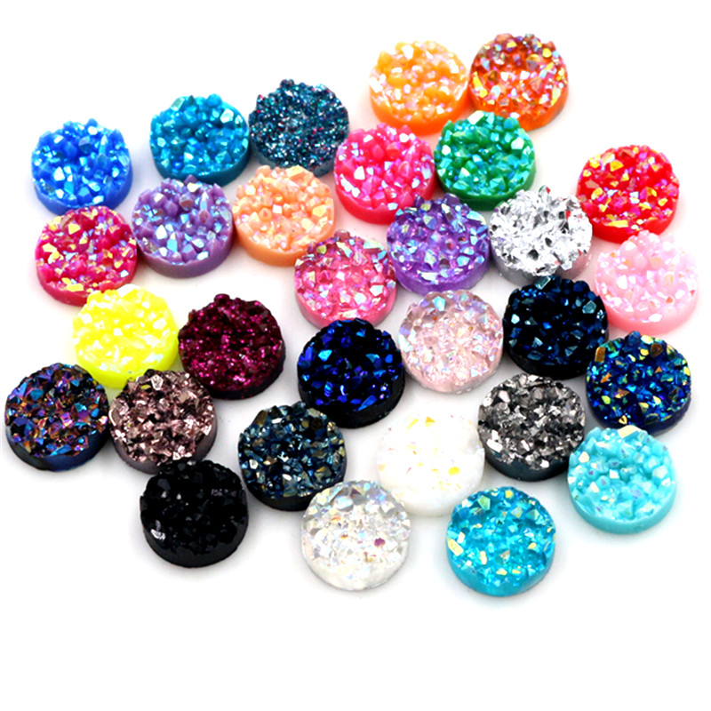 New Fashion 40pcs 8/10/12mm Mix AB Colors Druzy Natural Ore Style Flat Back Resin Cabochons For Bracelet Earrings Accessories