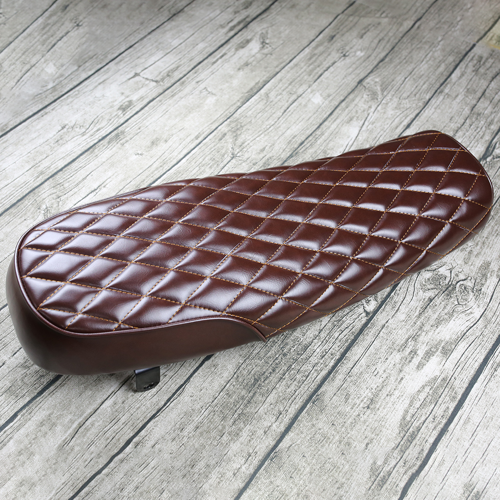 Brown Vintage Flat Brat Seat Saddle For Modification, Replacement Motorcycle Retro Seat Cushion, Comfortable