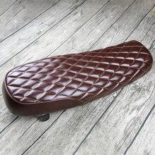 Asiento plano y alargado Vintage marrón para modificación, reemplazo de asiento de motocicleta Retro, cómodo
