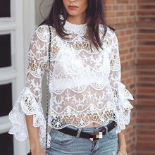 2019 Fashion All-match Lace Stitching Perspective Blouse White Round Neck Ruffled Sleeve Womens Shirt Exquisite Elegant