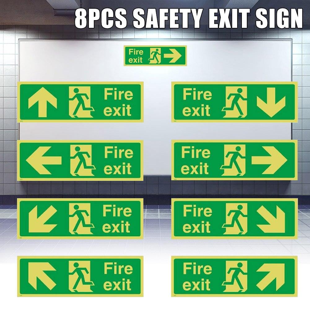 8pcs Photoluminescent Fire Exit Sign 300x100mm Plastic All Direction Arrows DQ-Drop
