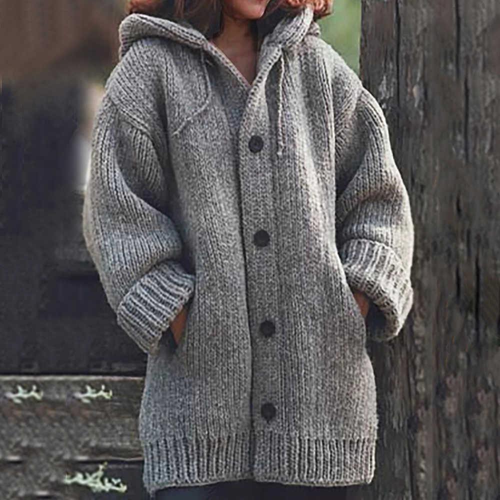 가을 겨울 여성 롱 가디건 솔리드 후드 스웨터 롱 코트 겨울 여성 뜨개질 코트 플러스 사이즈 5xl 캐주얼 니트웨어