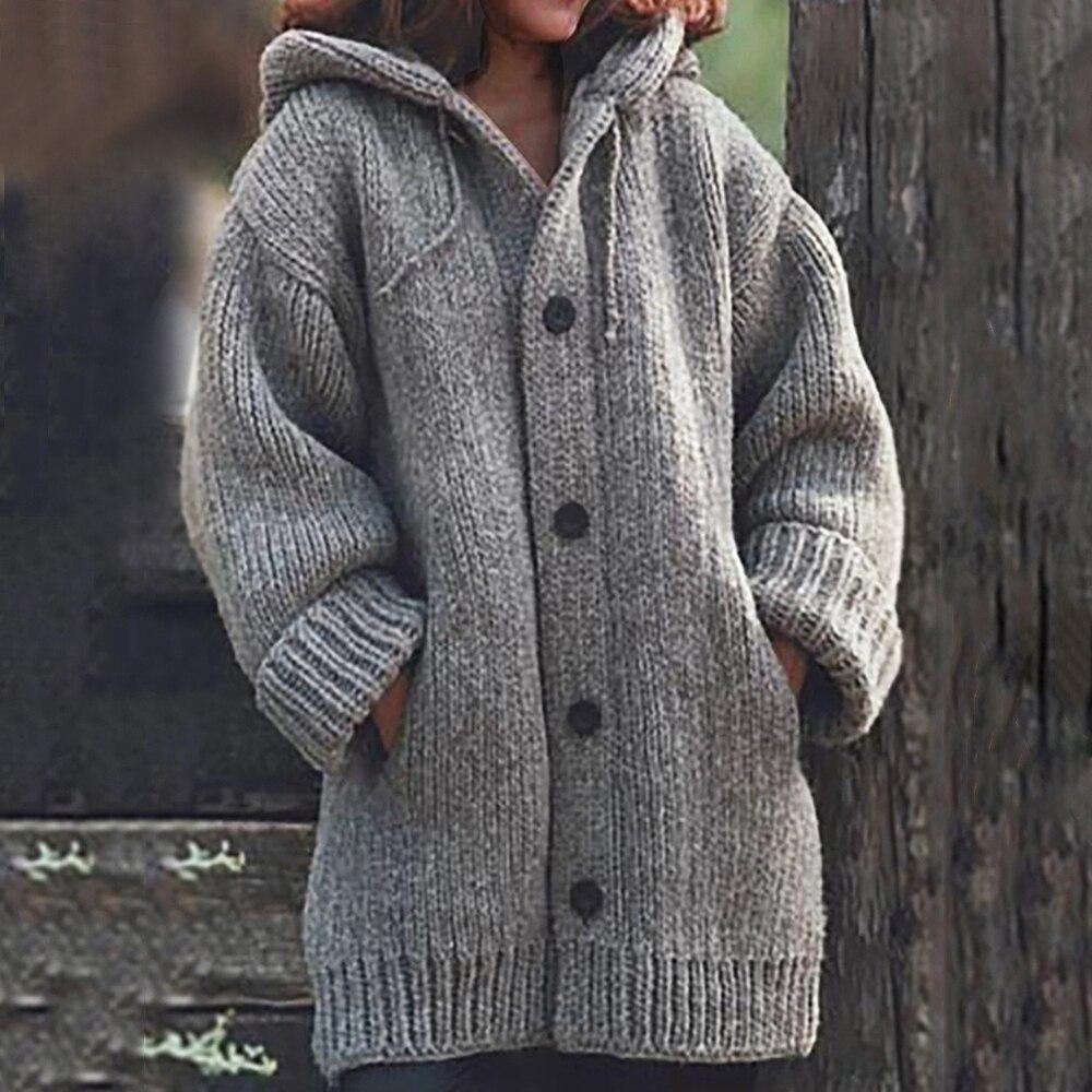 Autumn Winter Women Long Cardigan Solid Hooded Sweater Long Coat Winter Women Knitting Coat Plus Size 5XL Casual Knittwear