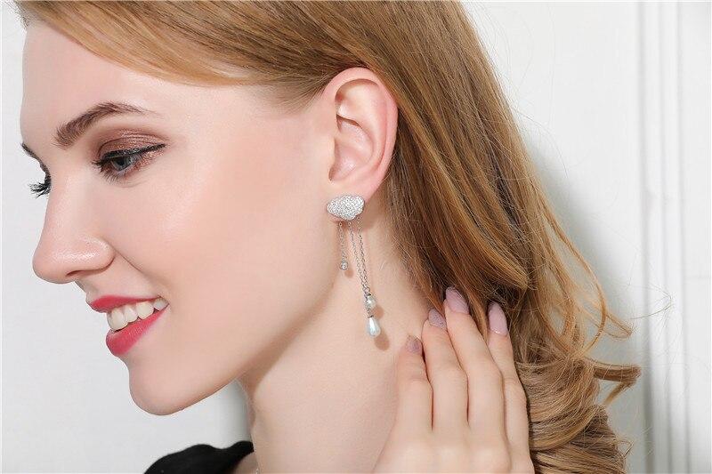 Marque de mode 925 en argent Sterling brouillard pluie pierre boucles d'oreilles pour les femmes longue chaîne gland perle cercle complet forage boucles d'oreilles bijoux