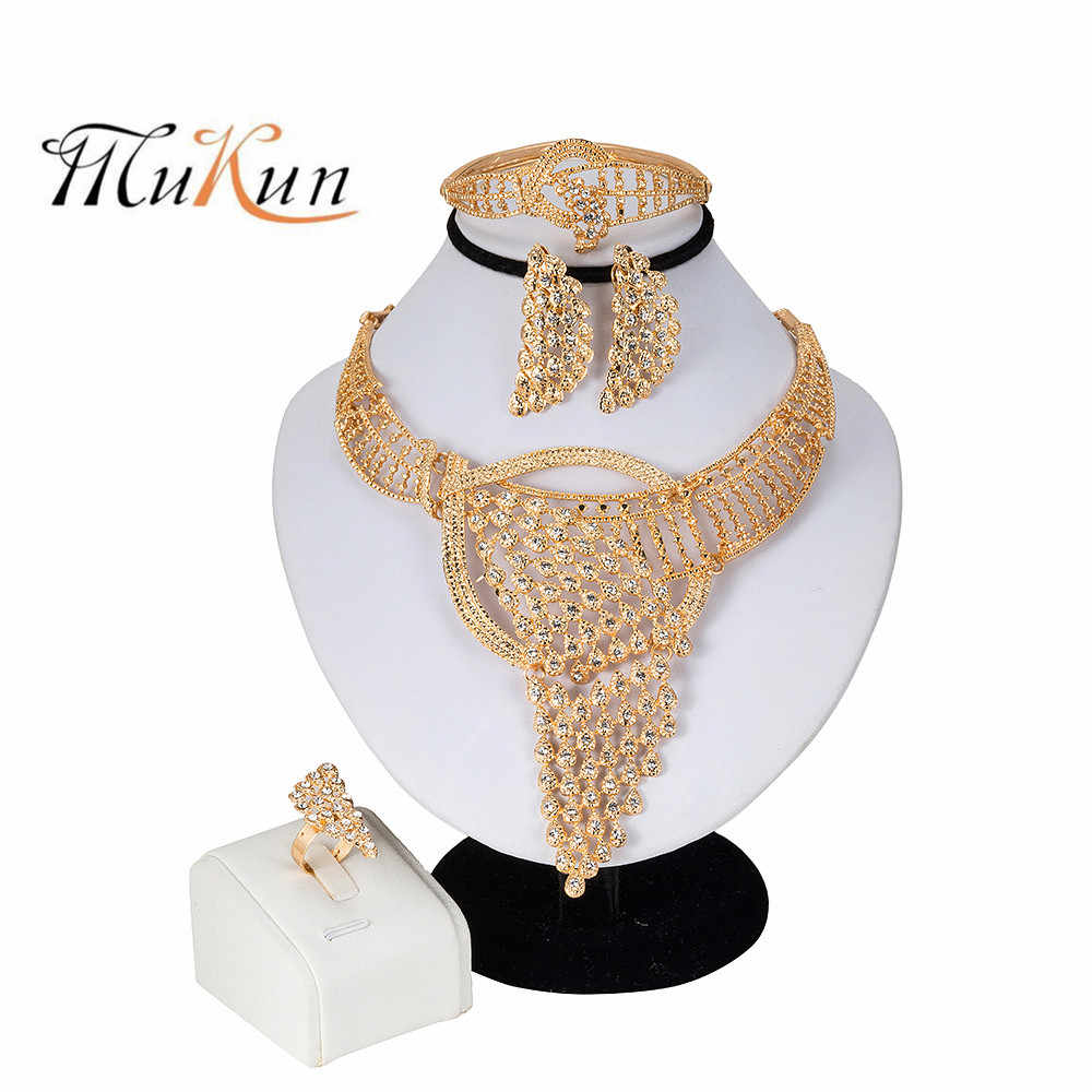 Fashion High Quality Dubai Gold-color Jewelry Sets Costume Design Brand for women engagement party Gift African Beads Jewelry