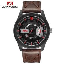 Fashion Quarts Watches Men Luxury Faux Leather Brand Waterproof Sport Wrist Watch Chronograph Quartz Casual Clock