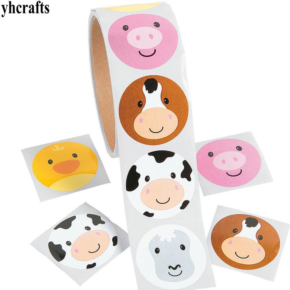 1 Roll(100PCS)/LOT New Farm Animals Paper Stickers Wall Fridge Sticker Reward Label Birthday Gifts Home Ornament Decoration OEM