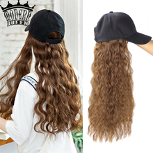 Wig-Hair Curl Wave Synthetic Baseball-Cap Hair-Wig-Long Adjustable for Girls Party Modern-Queen