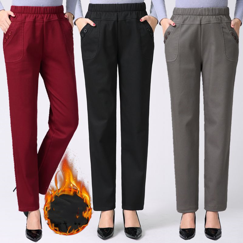 Autumn Winter Women Trousers New Cotton Plus Size Middle-aged Mother Straight Pants Elastic Waist Casual Pants Female Trousers
