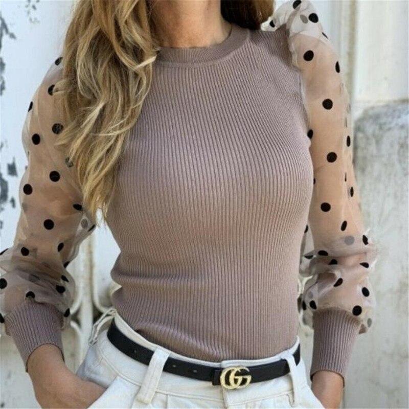 Turtleneck Knitted Polka Dot Puff Long Sleeve Blouse Women Mesh Sheer See-through Shirt Elegant Ladies Slim Tops Blusa Femme