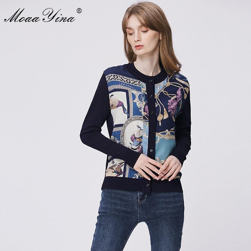 Image 2 - MoaaYina Spring Fashion Long sleeve Knitting Tops Womens Elegant Print Cardigans Silk Wool SweaterCardigans