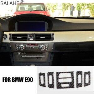 Image 3 - Adesivi decorativi per la copertura del telaio di uscita del condizionatore daria centrale per interni in fibra di carbonio per BMW E90 E92 E93 serie 3 2005 2012