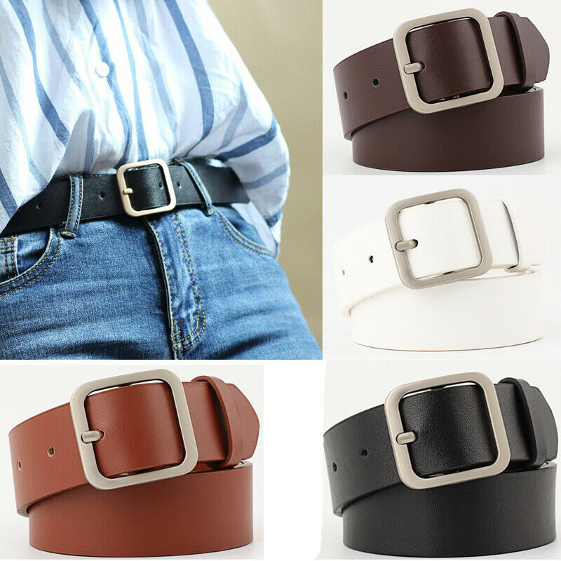 New Metal Circle Belt Female Brown Black White PU Leather Waist Belts For Women Jeans Pants Wholesale
