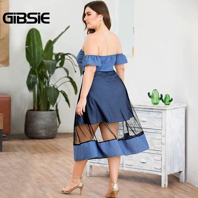 GIBSIE Plus Size Off Shoulder Button Women Mesh Patchwork Denim Dress Summer Female High Waist Streetwear A-line Long Dress 2