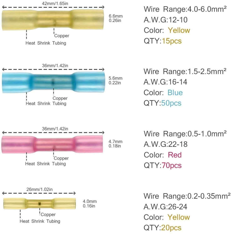 640 Buah Konektor Penyusut Panas Tahan Air Solder Kawat Konektor Heat Shrink Butt Crimp Terminal Kit-Konektor Listrik