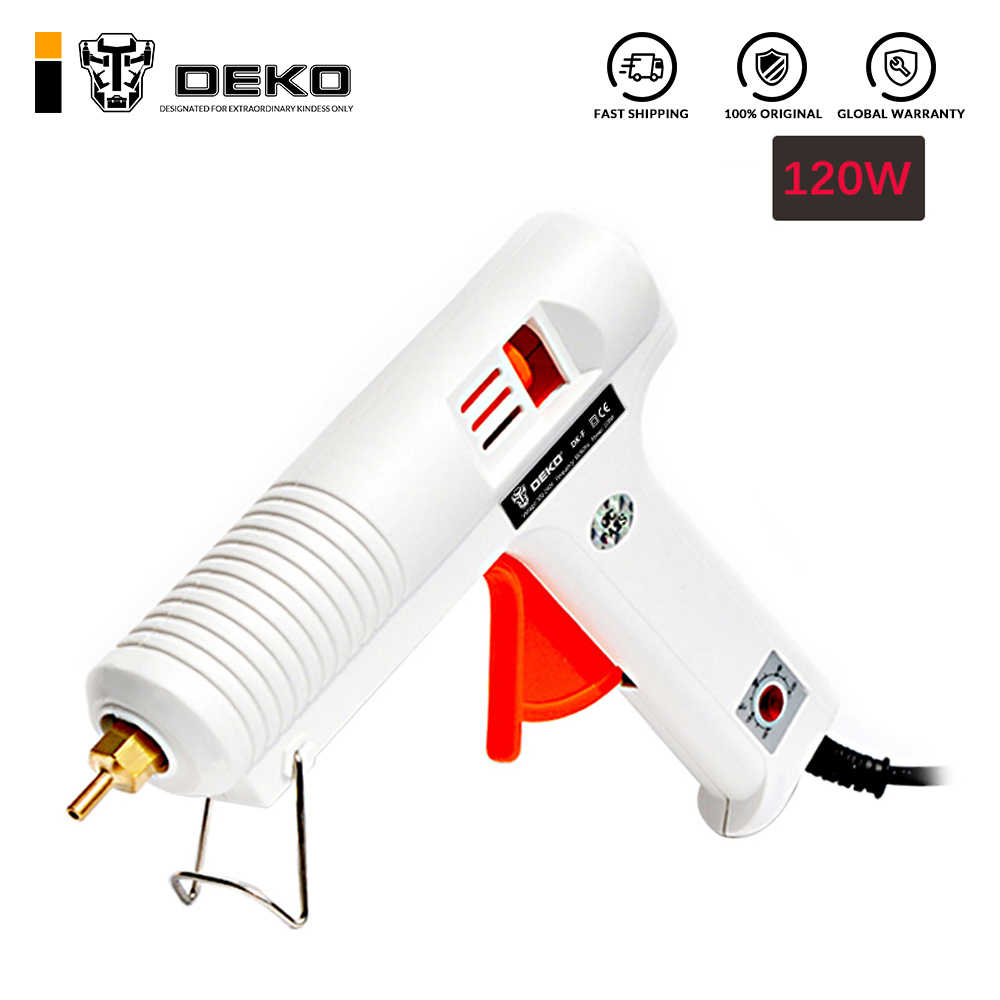 DEKO 120W Hot Melt Glue Gun with 1pc 11mm Glue Stick Heat Temperature Tool Industrial Guns Thermo Gluegun Repair Heat Tools