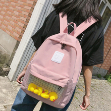 Cute Cartoon Small Duck Women Backpack Clear Nylon Ita Bookbag for Student Girl Harajuku Schoolbag High Quality Travel Backpacks