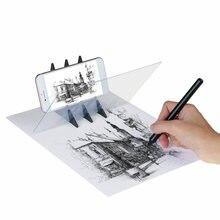 Placa de desenho óptico de projeção de rastreamento, espelho de desenho óptico para cópia e mesa de luz de reflexão com suporte para celular