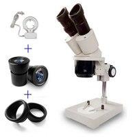 Binocular Stereo Microscope 1X 3X Objectives Soldering Repair Microscopio with Lamp WF10X WF15X WF20X Eyepiece Optional