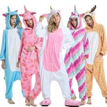 Nowe zwierząt jednorożec piżamy dorosłych zima piżamy Kigurumi Stitch Panda Pikachu piżamy kobiety Onesie Anime kostiumy kombinezon tanie tanio sumioon Poliester Cartoon S M L XL Flanelowe Unisex Pasuje prawda na wymiar weź swój normalny rozmiar licorne sleepwear