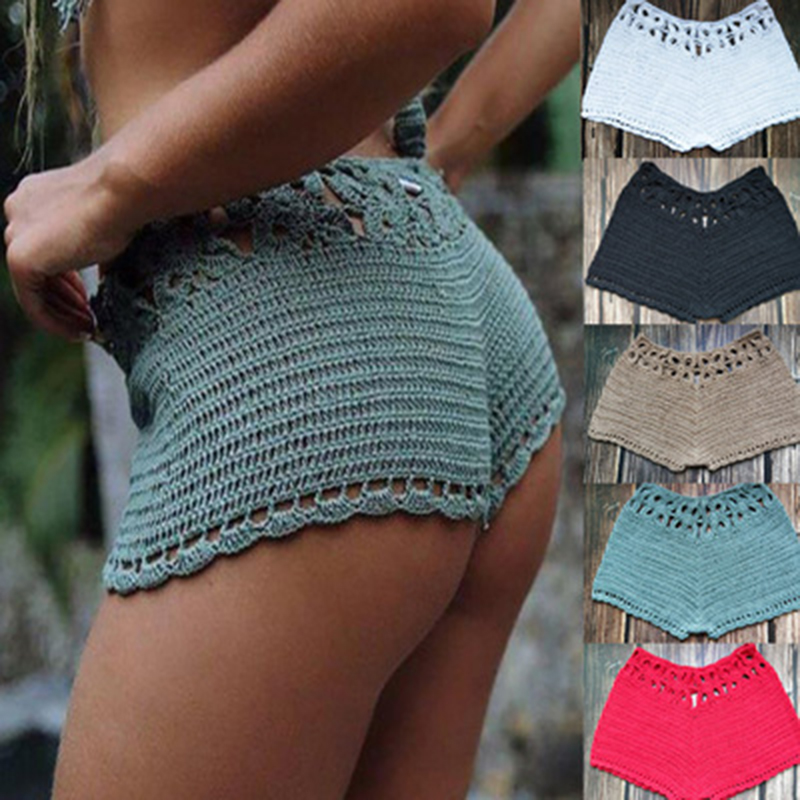 Summer High Waist Beach Swimming Shorts Women Crochet Cotton Shorts Solid Home Shorts Surf Board Casual Mini Sexy Knit Shorts