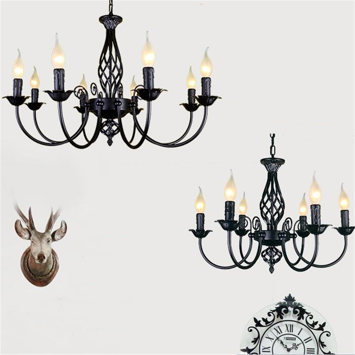 Industrial Chandelier Wrought Iron 3 4 5 6 Light Chandeliers Vintage Candlestick Black White Hanging Lamp For Bar Restaurant